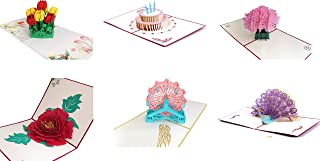 3D Greeting Cards for All Occasions | Pop Up Cards Assortment | Flowers Greeting Cards | Cards Envelope Included | Birthday Gifts for Sister, Mom, Wife, Kids (6 pcs)