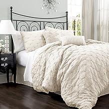 Lush Decor Lake Como 4-Piece Comforter Set, Queen, Ivory
