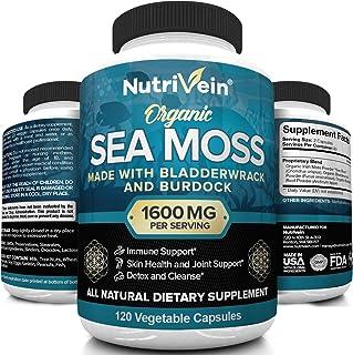 Nutrivein Organic Sea Moss 1600mg Plus Bladderwrack & Burdock - 120 Capsules - Prebiotic Super Food Boosts The Immune Syst...