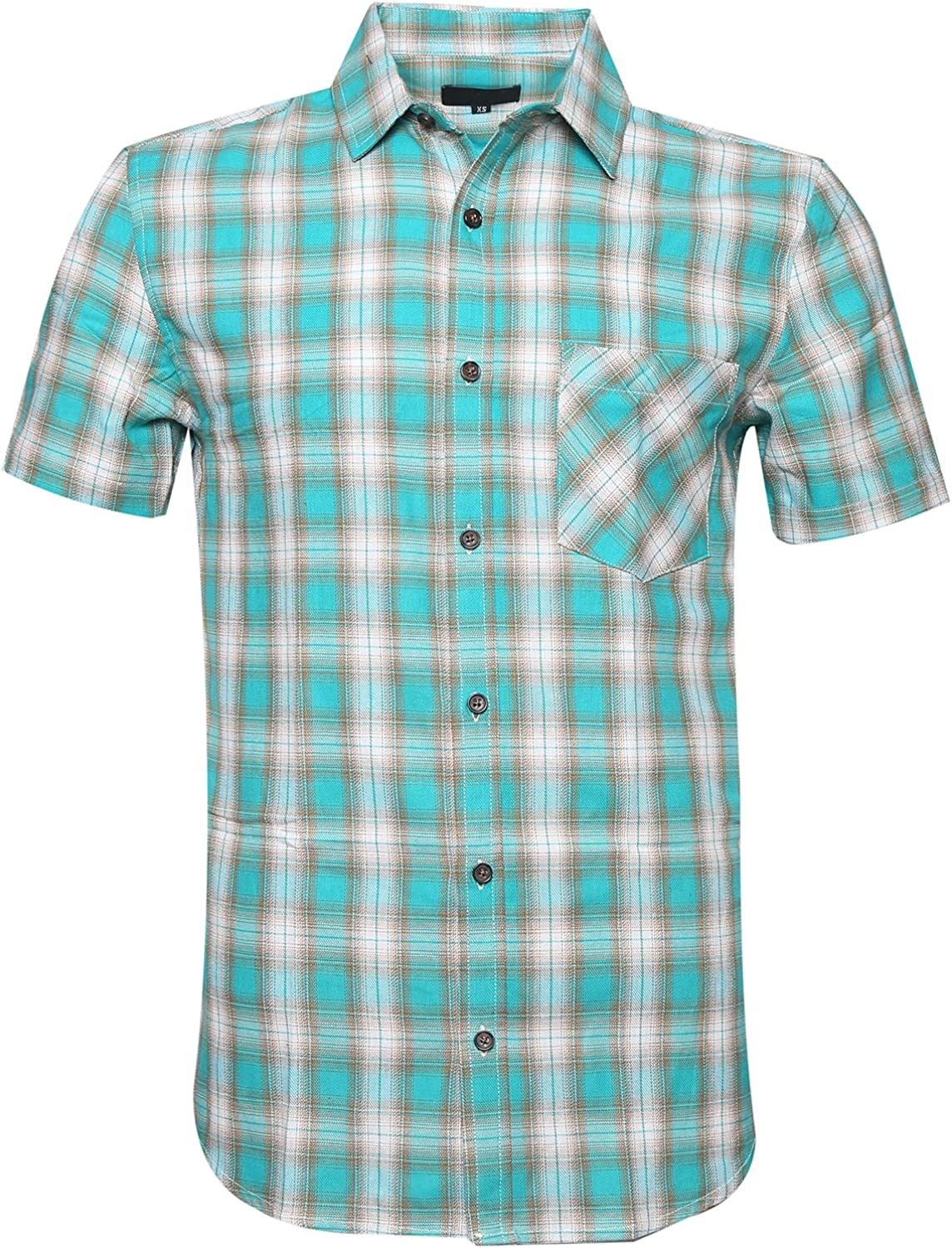 ALTOGUSTO Men's Short Sleeve Max 44% OFF Button Max 85% OFF Plaid Colourful Work Down Ca