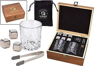 WOMA 6 Whisky Steine Edelstahl  2 Whisky Gläser  Holzbox inkl. Zange & Samtbeutel - Edelstahl Eiswürfel wiederverwendbar, geschmacksneutral & Kühlung ohne Verwässern für Whiskey, Wodka, Gin & Mehr
