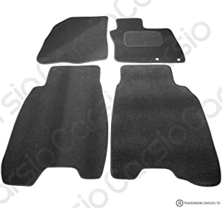 Carsio Tailored Black Carpet Car Mats for Honda Civic 2006-2008 - 4 Piece Set with 2 Clips