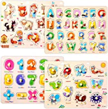 Kids Wooden Peg Puzzles Set for Toddlers 2 3 4 Years Old, Alphabet ABC Numbers 123 Farm Animals Learning Puzzles Board for Kids, Preschool Educational Pegged Puzzles Montessori Toy for Girls Boys