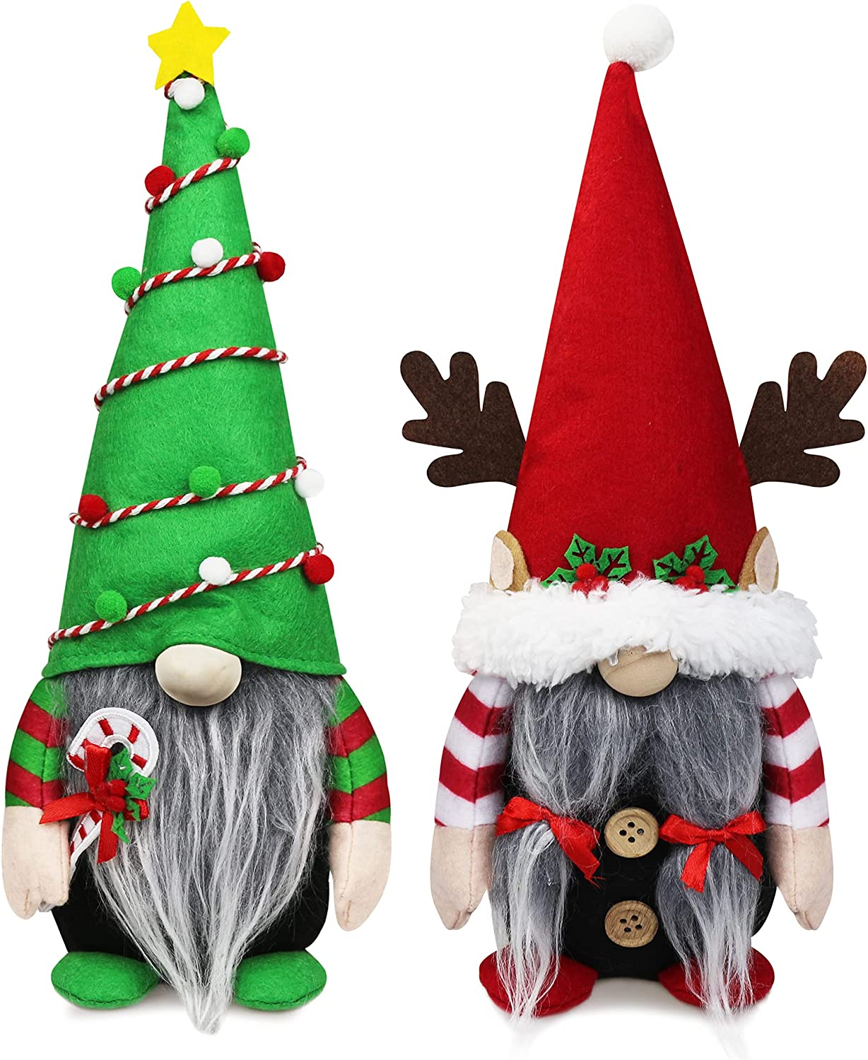 Christmas Gnome Plush Elf Decorations - Mr and Mrs Xmas Holiday Handmade Scandinavian Tomte for Christmas Decorations - Tiered Tray Decor, Holiday Presents, Home Office Table Decorations