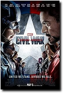 Mile High Media Captain America Civil War Movie Poster 24x36 Inch Wall Art Portrait Print