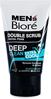 Biore Men's Double Scrub Extra Cool Facial Foam 100g Smooth, bright & healthy skin. - Extremely cool & refreshing sensation.