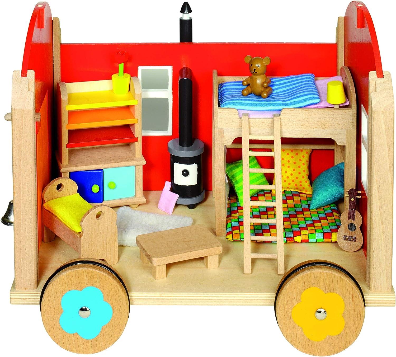 Cama24com Puppenhaus Puppenstube Bauwagen mit Einrichtung von goki mit Palandi Sticker