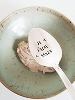 Je T'aime Maman - Hand Stamped Spoon - Gift For Mother - Engraved Teaspoon - Fetes des Meres