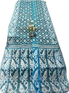 فيروزي هندي جامداني منسوج ساري امرأة من القطن الناعم بتصميم جميل مسلم داكا ساري 933a