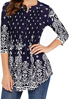 sensitives Spring Tunic Printed Women's Shirt Blouse 3/4 Sleeves Pleated Tops Womens 2019 Summer Fashion Shirts