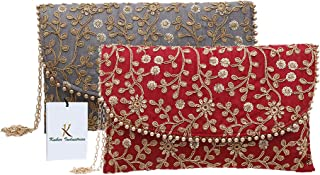 Kuber Industries Women's Handcrafted Embroidered Clutch/Purse (CTKTC034523, Maroon and Grey) - 2 Pieces