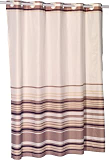 Hookless Brown Stripes EZ On Fabric Extra Wide Shower Curtain with Built in Shower Curtain Hooks, 70