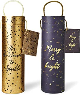 Set Of 2 Holiday Gift & Storage Canisters For Wine Or Other Giftable Goodies - Decorative Cylinder Shaped Paperboard Containers With Seasonal Colors and Designs With Lid, Carry String and Gift Card