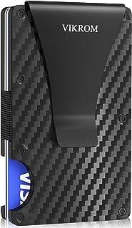Carbon Fiber Wallet and Money Clip - RFID Blocking Front Pocket Wallet - Premium Minimalist Wallets for Men - Slim Credit Card Holder - Business Card Holder - Mens Wallet - Aluminum Metal Wallet