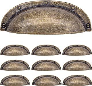 YFJG Antique Brass pulls 3.5 inch Cup Drawer pulls Antique Bronze Kitchen Cabinet Hardware Shell Handle Oil Rubbed Bronze Bin Cup Drawer Handle Pull - 2.5