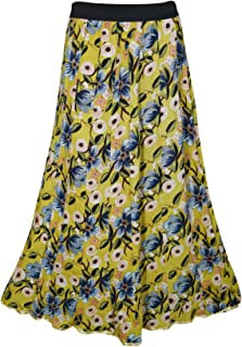 Mogul Interior Women's Maxi Skirts Floral Printed Yellow Rayon Wide Waist M