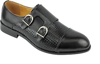 Xposed Brun Noir Hommes Cuir véritable Vintage Décontractée Mariage Formel Robe Double Sangle Monk Chaussures