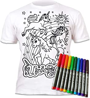 Splat Planet Colour-in Unicorn T-Shirt with 10 Non-Toxic Washable Magic Pens - Colour Your Own, Colour-in and Wash Out T-S...