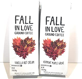Fall In Love Ground Coffee Variety Pack, Vermont Maple Grove And Vanilla Nut Cream 12 Oz Each (2 pack)!