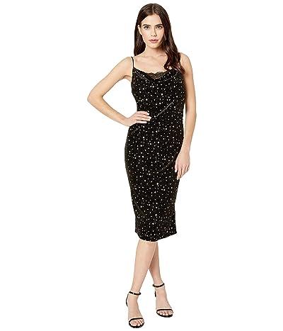Miss Me Velvet Star Midi Dress (Black) Women