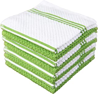 Sponsored Ad - Sticky Toffee Cotton Terry Kitchen Dishcloth, 8 Pack, 12 in x 12 in, Green Stripe