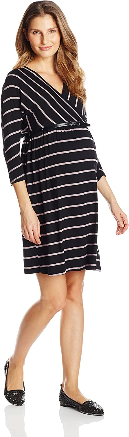 Three Seasons Maternity Women's Maternity 3 4 Sleeve Surplice Stripe Dress