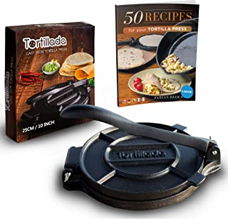 Tortillada – Premium Cast Iron Tortilla Press with Recipes (10 Inch) / Biggest Tortilla Press in the Market