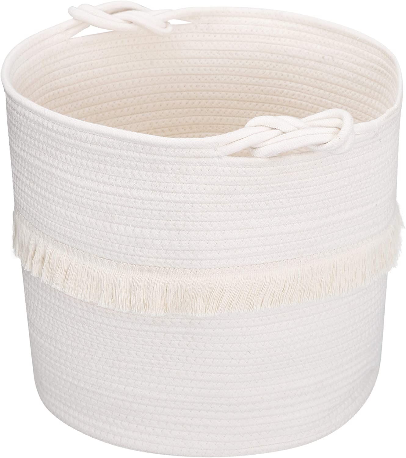 Woven Storage Baskets Cotton Rope Decorative Hamper for Nursery, Laundry and Toys, Cute Tassel Nursery Decor Home Storage Container
