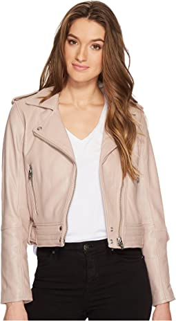 Blank NYC - Real Leather Moto Jacket in Rose Dust
