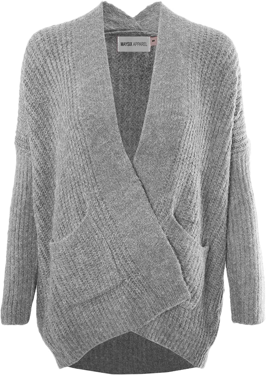 MAYSIX APPAREL Women Casual Cotton Cable Knit Open Sweater Long Sleeve Chunky Cardigan W Pocket Beige