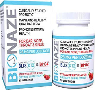 Bionaze Sinus Probiotic w/clinically Proven BLIS K12 & BL-04 for Clogged Sinus, Sore Throat and Bad Breath, Powerful 90 Billion CFU/bottle-100% Natural Ingredients-Gluten Free-Natural Fruit Flavor