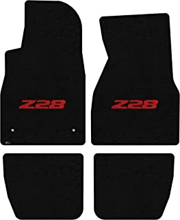 Lloyd Mats LogoMat Custom Floor Mats for Chevy Z28 Camaro 1993-2001 4Pc Front & Back Set, Red Z28 Logo, Black Carpet Mat