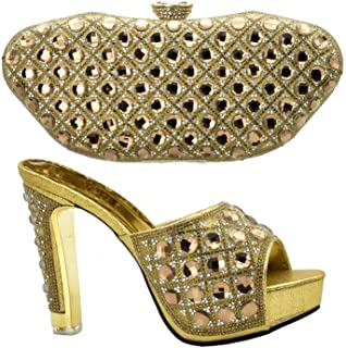 Women Matching Shoes and Bag Sets with Rhinestone Italian Shoes with Matching Bags for Women Bag and Shoes Set Italy,Gold,7.5