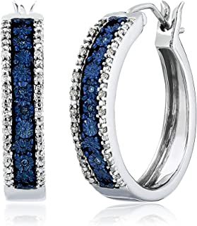 Sterling Silver Blue and White Diamond Hoop Earrings (1/10 cttw), NEW