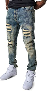 Men's Speckle Stone Wash Ripped Torn up Slim Fit Stretch Denim Jeans Pant