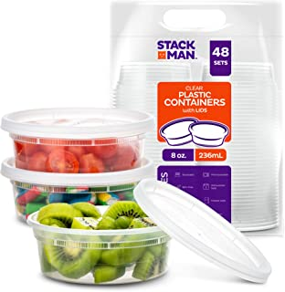Stack Man [48 Pack, 8 oz] Plastic Deli Food Storage Slime Containers With Airtight Lids,..