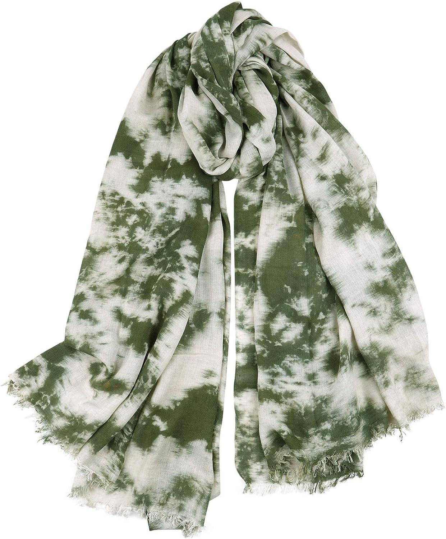 GERINLY Tie Dye Men Scarves Cozy Warm Cotton-Linen Scarf For Fall Wrap Stylish Shawl