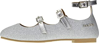 bebe Baby-Girls Toddler Girls' Glitter Mary Jane Flat with Metallic Pu Details
