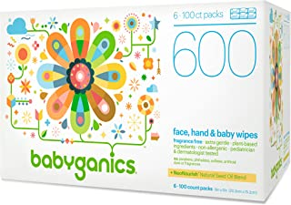 Babyganics Baby Wipes, Unscented, 600 Ct, 6 Pack, Packaging May Vary