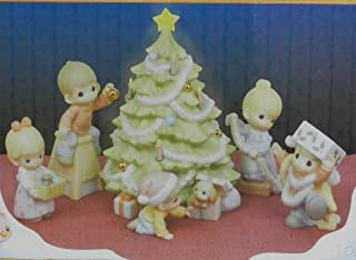 WISHING YOU AN OLD FASHIONED CHRISTMAS 6 Piece Precious Moments Porcelain Family Scene Trimming Christmas Tree