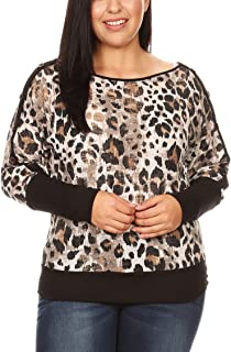 Women's Junior Plus Size Leopard Print Dolman Sleeves Top with Buttons