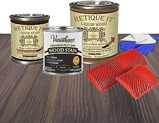 Retique It Liquid Wood - Paint it Then Stain it - Stainable Wood Fiber Paint - Put a Fresh Coat of Wood on it (Starter Kit, K81. Ebony - Dark Over Golden Pine)