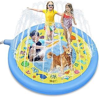 Glymnis Tapis de Jet d'eau Enfant Tapis d'eau Tapis de Pulvérisation d'eau PVC Durable Gonflable Jouet d'eau Enfant Jeux ...