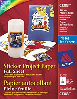 Avery Sticker Paper, Matte White, 8.5 x 11 Inches, Inkjet Printers, 15 Sheets (3383) Packaging May Vary