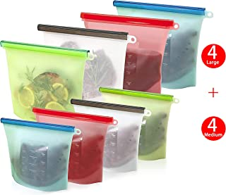 elabo 8 Pack Reusable Silicone Food Storage Bags (4 Medium and 4 Large) | Airtight Seal, Leakproof, Dishwasher Safe, BPA Free | for Sandwich,Sous Vide,Snack,Meal Prep, Lunch, Fruit