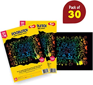 Toiing Doodletoi Return Gift Combo - 30 Packs of Magical Colourful Scratch Art Drawing Papers (1 Pack = 3 Sheets, Black)