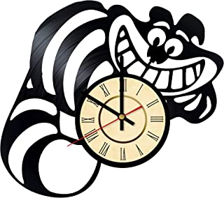 Alice in Wonderland Vinyl Clock Gift for Cheshire Cat Fans Walt Disney Wall Decor Kitty Art Mysterious Handmade Living Room Artwork