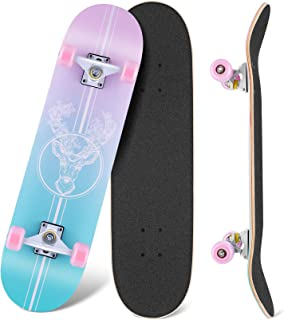 """WeSkate Skateboards for Beginners, 31""""x8"""" Complete Skateboard Girls Boys Skate Boards 7 Layer Canadian Maple Double Kick Deck Concave Cruiser Trick Skateboard for Kids Teens Youth Adult"""