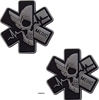 Medic Rubber 3D PVC Patch Medical Paramedic Tactical Morale Badge Patches Hook Fasteners Backing 2.95 x 2.95 Inch Bubble of 2 Pieces