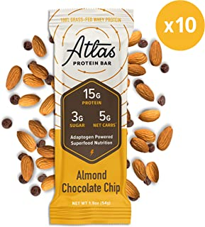 New! Atlas Protein Bar - Keto Friendly, Almond Chocolate Chip (10-Pack) — Grass Fed Whey, Low Sugar, Clean Ingredients, Gluten Free, Soy Free, and GMO Free